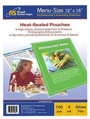 "Menu Laminating Pouches 12"" x 18"" 100 pack"