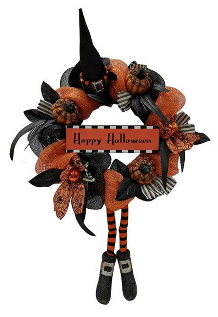 Mesh Wreath Pumpkins Witch Legs Halloween Décor