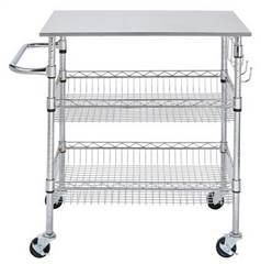 Chrome Kitchen Cart Stainless Steel Top