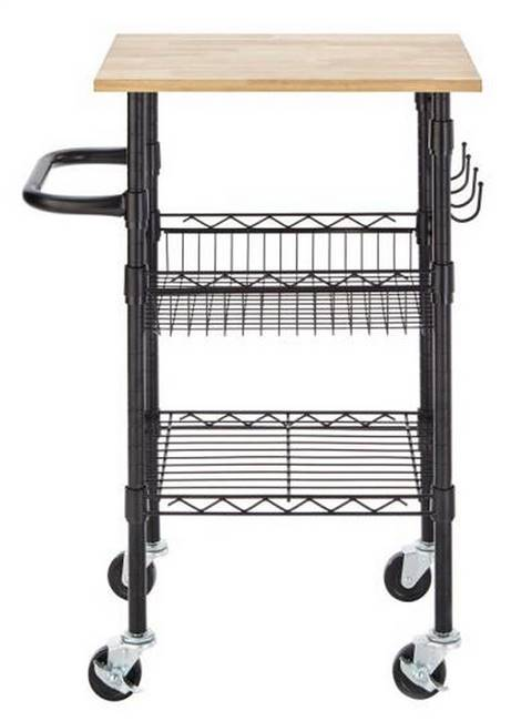 Black Small Kitchen Cart Wood Top