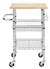 Chrome  Kitchen Cart Rubber Wood Top