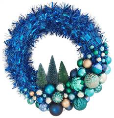 "24"" Shatterproof Ornament Tinsel Blue Wreath"