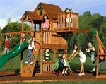 Cedar Wood Fort Playground Slide Monkey Bars Swing Set Play Ground