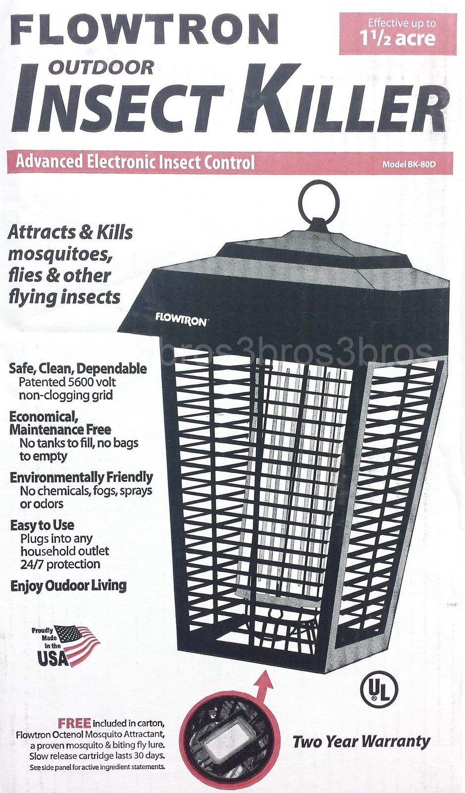 New Bug Zapper Mosquito Insect Killer Trap Flowtron 1-1/2 Acre Bug Light