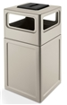 Commercial Zone Square Waste Container with Ashtray Lid Polyethylene, 42 Gallon