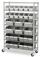 Steel Shelving 22 Bin Metal Parts Storage Rack 7 Tier Metal Shelves & Wheels