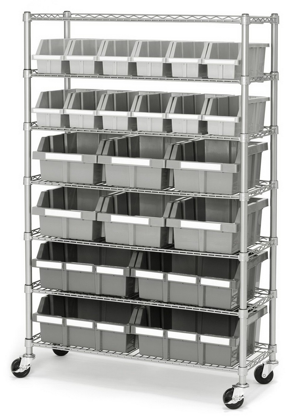 Steel Shelving 22 Bin Metal Parts Storage Rack 7 Tier Metal Shelves U0026 Wheels