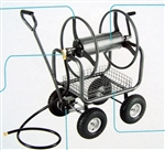 Heavy Duty 300' Hose Reel Cart Metal Rolling Outdoor Garden Watering
