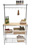 CHROME & BAMBOO 5' Tall BAKERS RACK with WORK TABLE