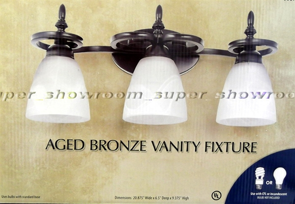 New 3 Light Bathroom Vanity Lighting Fixture Platinum: NEW 3 Lamp Bathroom Vanity Wall Light Fixture Aged Bronze