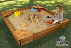 New KidKraft Fun Back Yard Wood Sandbox Sand Box