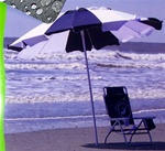 New Big 8' Wide Blue White Beach Patio Umbrella w/ Tilt