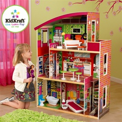 3 Story Wooden Dollhouse & Furniture Set
