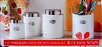 Porcelain Stainless Steel 4  KITCHEN CANISTERS SET