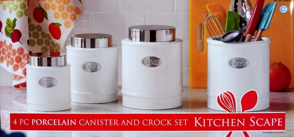 New Porcelain Stainless Steel 4 KITCHEN CANISTERS SET