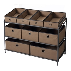 Three Tier Metal Storage Rack with 9 removable Fabric Bins