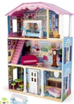 Kids Wooden 3 Level Dollhouse Doll House Wood Kit with 9 Piece Furniture Set