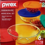 Pyrex 8 Piece Glass Mixing Bowls Set with Lids