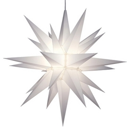 "21"" Hanging Christmas Light White Star of Bethlehem 26 Point Electric"