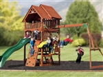 Huge Cedar Wood Fort Playground Swing Set Slide Play Ground Wooden House