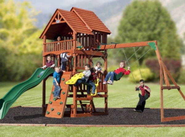New Huge Cedar Wood Fort Playground Swing Set Slide Play