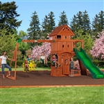 Outdoor Playground Wooden Cedar Swing Play Ground Set Activity Table & Bench