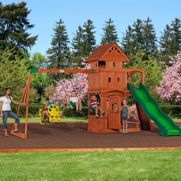 New Outdoor Playground Wooden Cedar Swing Play Ground Set Activity