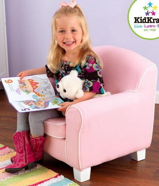 New Kids Pink Sofa Chair KidKraft Childrens Furniture Girls Bedroom White  Piping