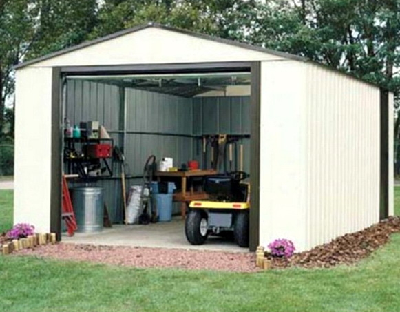 Large Garden Equipment Storage Shed Vinyl Coated Steel Walls 12u0027 x 24u0027 x 8u0027 : storage sheds vinyl  - Aquiesqueretaro.Com