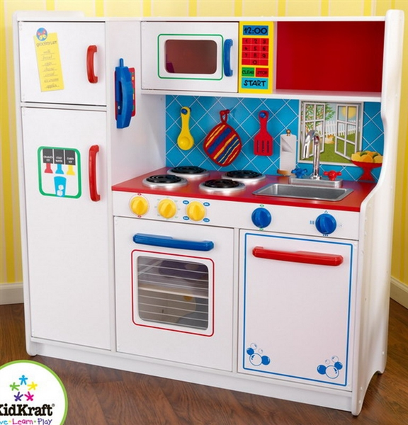 New KidKraft Childrens Pretend Deluxe Lets Eat Kids Toy Kitchen Playset