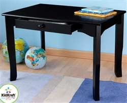 "Kids Wood Desk 24"" x 36"" Black Finish Table with Drawer"