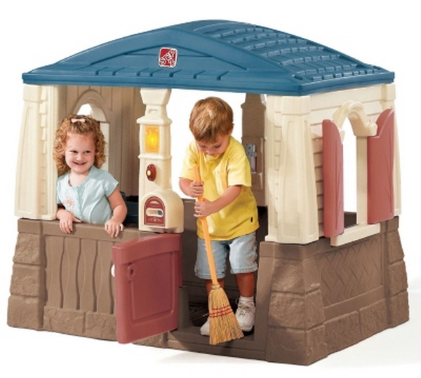 Large Plastic Outdoor Playhouse Cottage Kids Play House Interactive Toy