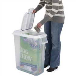 New Air Tight Rolling Pet Dog Food Plastic Container Dispenser up to 60 lb Bag