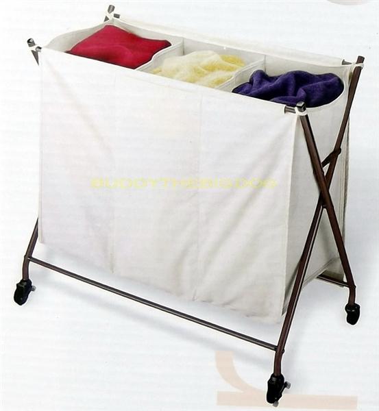 New 3 Bin Laundry Sorter Heavy Duty Canvas Rubber Wheels Triple