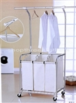 Three Bag Rolling Laundry Sorting Cart Heavy Duty Sorter & Hanging Bar