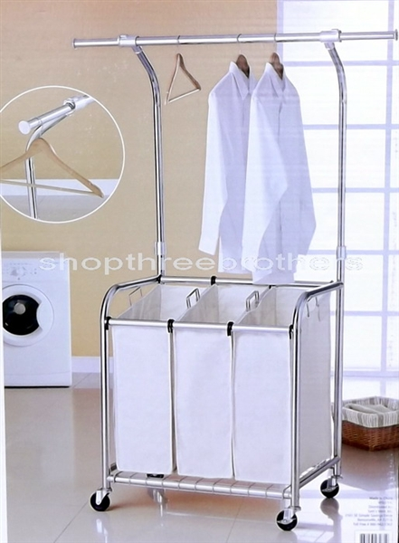 New 3 Three Bag Rolling Laundry Sorting Cart Heavy Duty Sorter