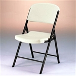 Metal & Plastic Folding Chair 4 Pack Almond or White Granite Color Portable Seats