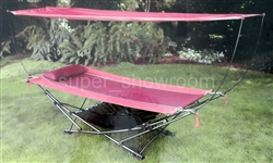 Foldable Steel Frame Hammock Red with Canopy Pillow Stand & Carrying Bag