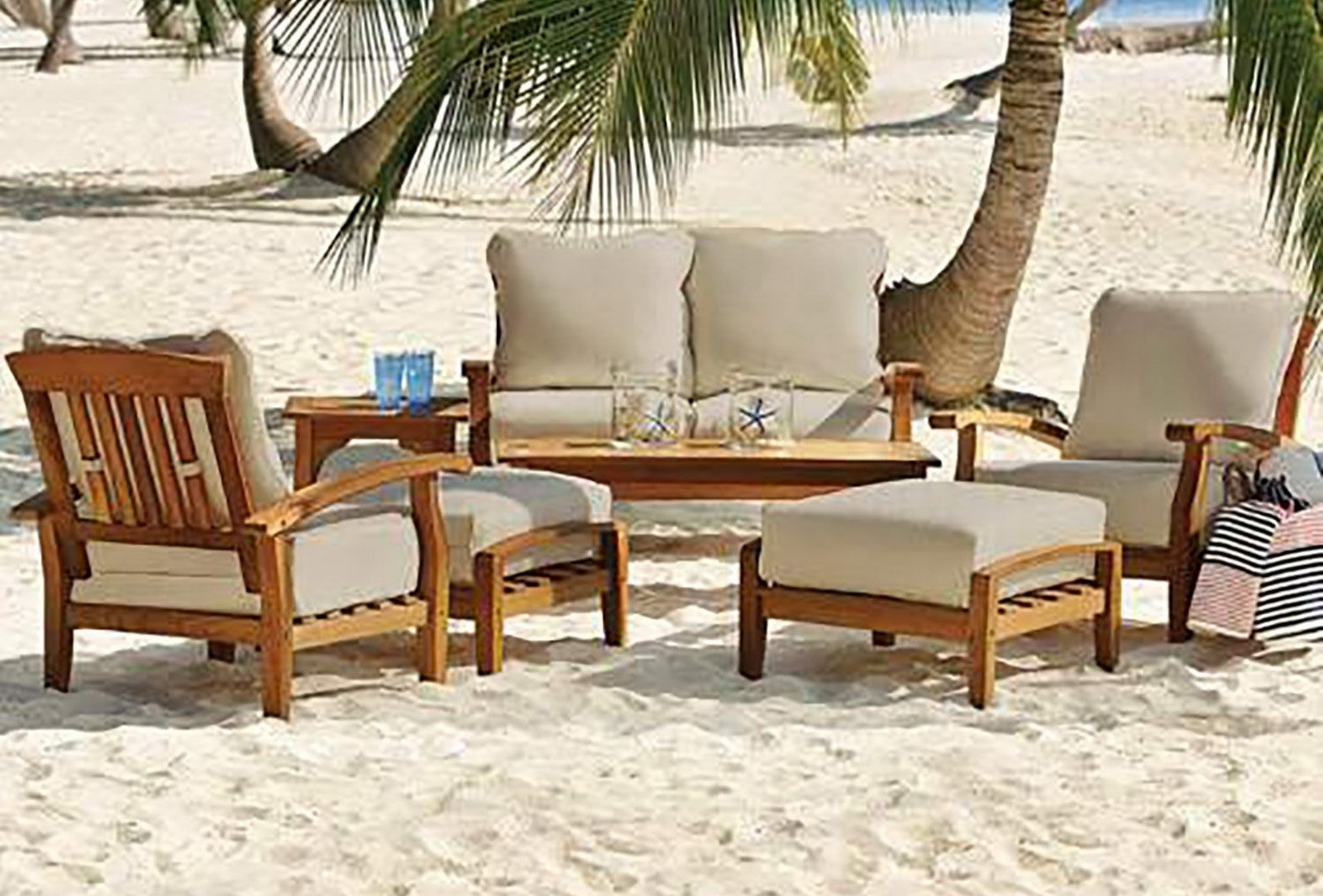 7 piece teak wood outdoor patio seating set