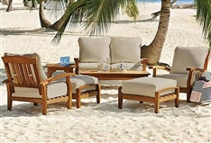 7 Piece Teak Wood Outdoor Patio Seating Set Garden Furniture White Cushions
