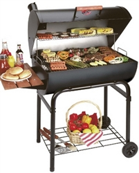 "42"" Charcoal Grill Black Steel Barrel BBQ Barbeque Outdoor Cooking"