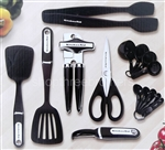 KitchenAid 15 Piece Kitchen Utensil Tools Set Black Measuring Cups Peeler + More