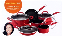 Rachel Ray 10 Piece Set Non Stick Cookware Set with Glass Lids Porcelain Red