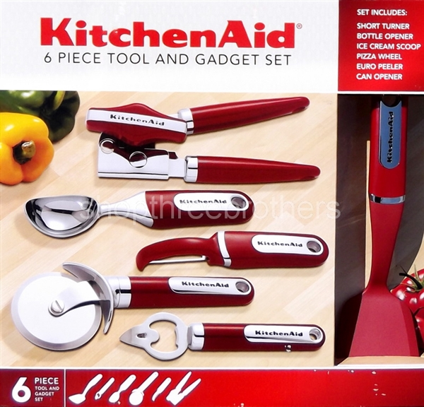 KitchenAid Red 6 pc Kitchen Gadget Utensils Set Culinary Cooking Tools