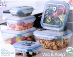 12 Piece Vacuum Sealed Plastic Food Storage Containers
