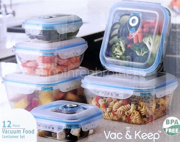 12 Piece Vacuum Sealed Plastic Food Storage Containers Snap Lock Lids