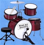 Kids First Act Red Drum Set + Adjustable Stool Seat
