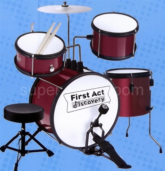 Kids First Act Red Drum Set Toy Musical Instrument + Adjustable ...