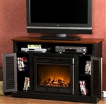 Black & Walnut Electric Fireplace TV Stand Console