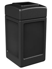 Commercial Zone Black 38 gal. Square Trash Can